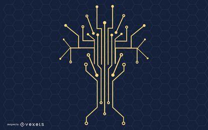 Ilustración de vector de árbol de tecnología