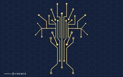 Technology Tree Vector Illustration