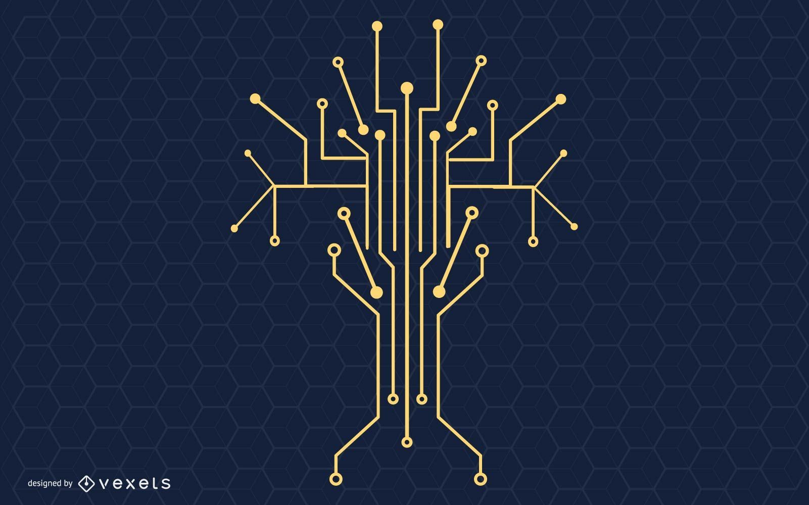 Technology Tree Vector Illustration