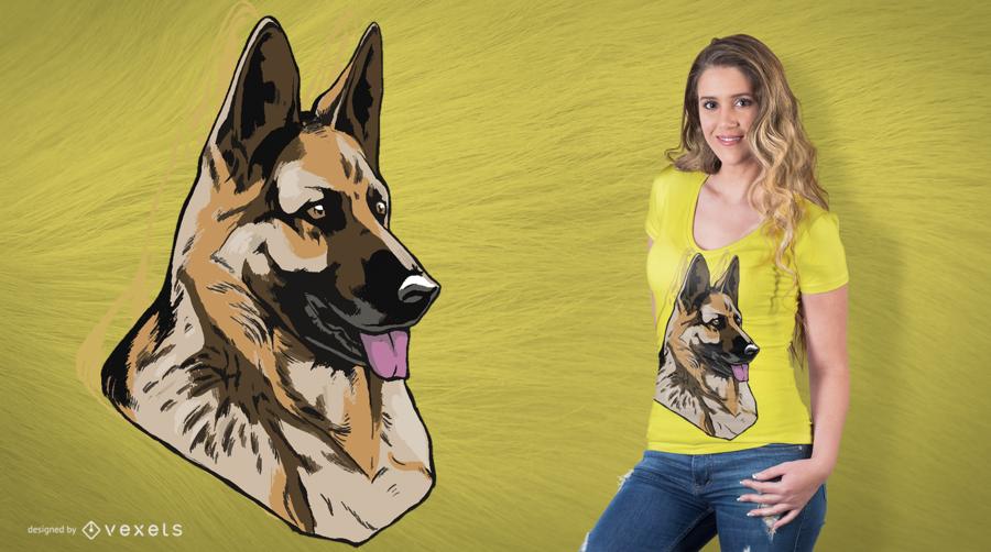 Design do t-shirt do pastor alemão do cão