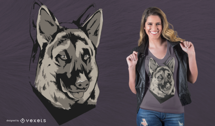 Diseño de camiseta de mascota de pastor alemán