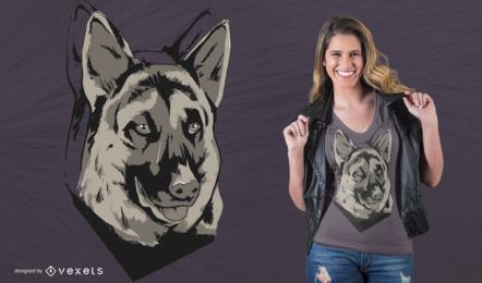 Diseño de camiseta de mascota del pastor alemán