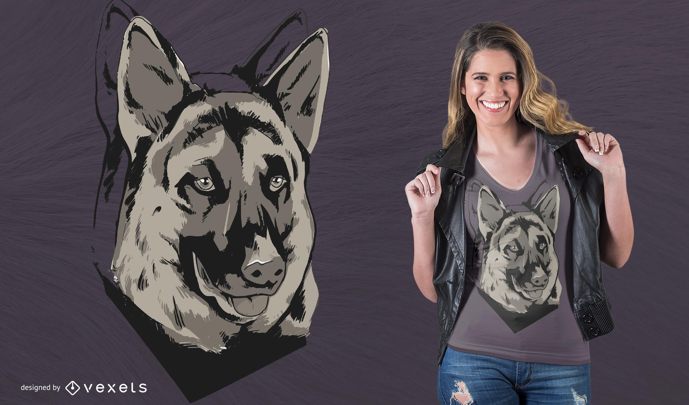 Deutscher Schäferhund Haustier T-Shirt Design