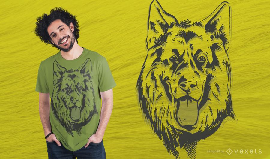 Diseño de camiseta de pastor alemán lineal