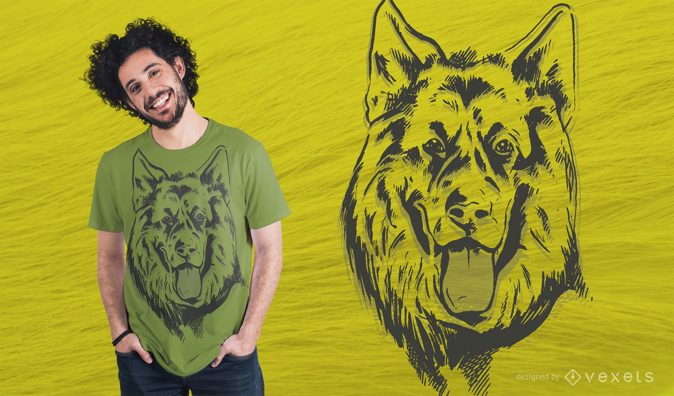 Design de camiseta Lineal para pastor alemão