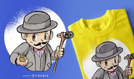 Camiseta de detective infantil Poirot con diseño de camiseta.