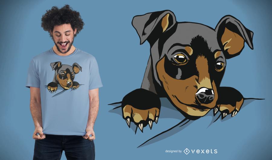 Design bonito do t-shirt do bolso do cão