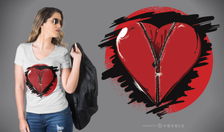 Diseño de camiseta de corazón con cremallera
