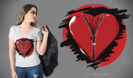 Projeto do t-shirt do coração do zíper