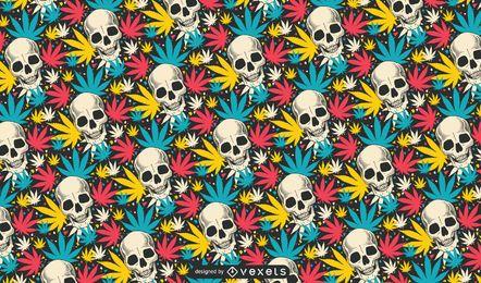Cráneo Cannabis Patrón De Diseño