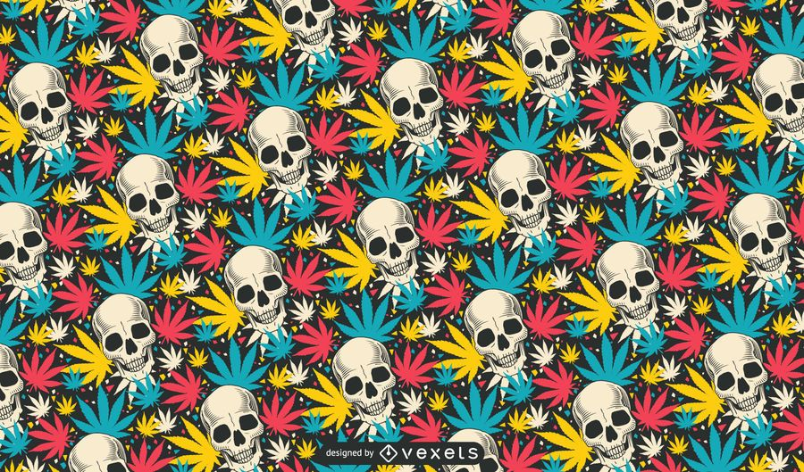 Skull Cannabis Pattern Design