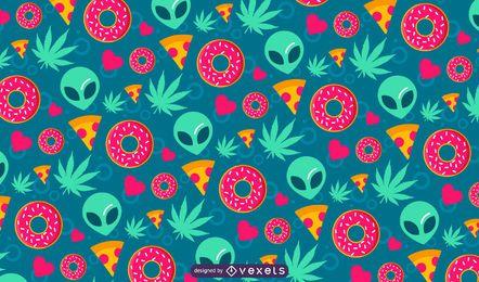 Projeto bonito do teste padrão da cannabis estrangeira