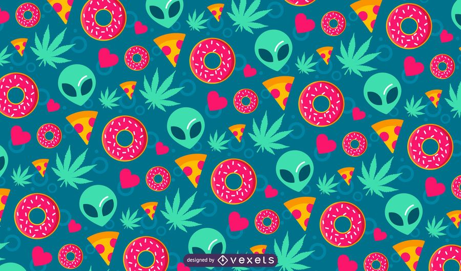 Cute Alien Cannabis Pattern Design