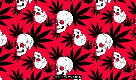 Diseño de patrón de cráneo de marihuana