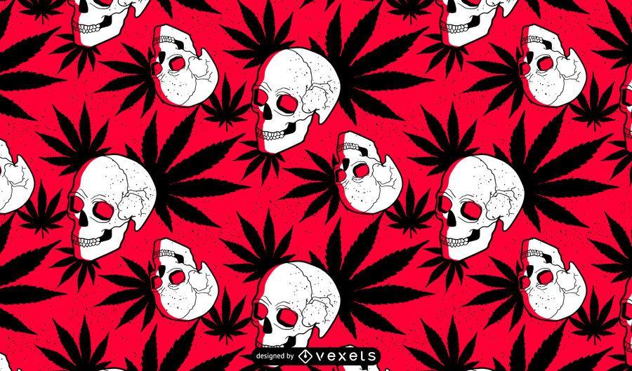 Diseño de patrón de calavera de marihuana