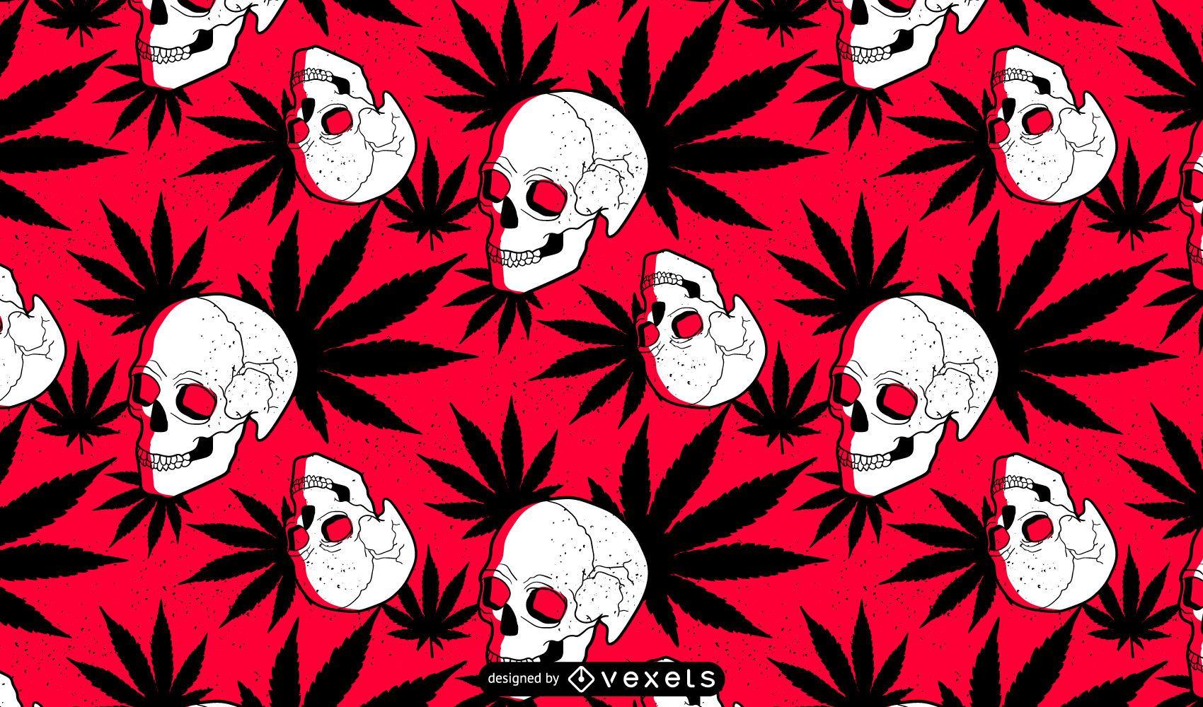 Marijuana Skull Pattern Design
