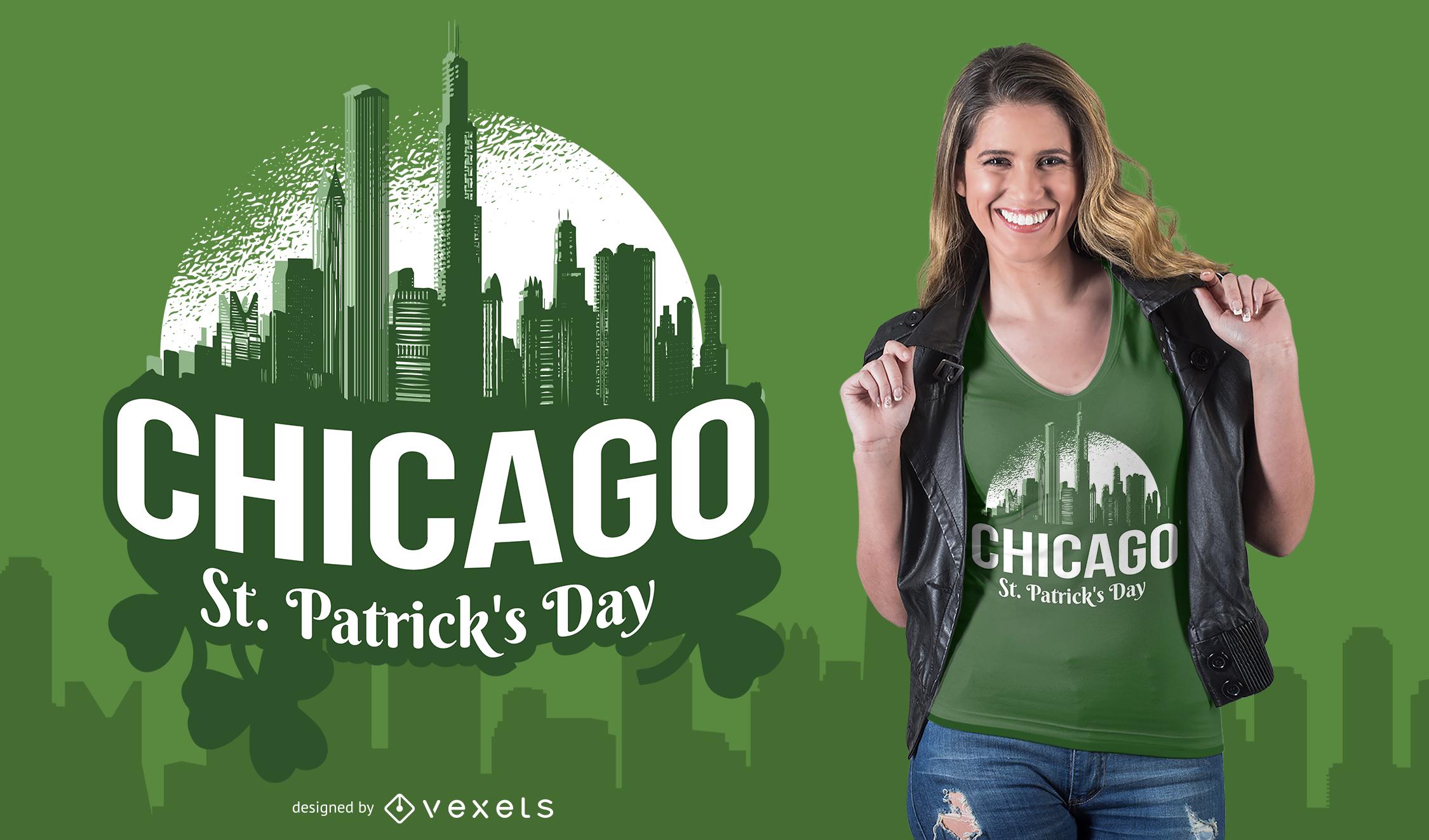Design de camisetas do Dia de São Patrício em Chicago