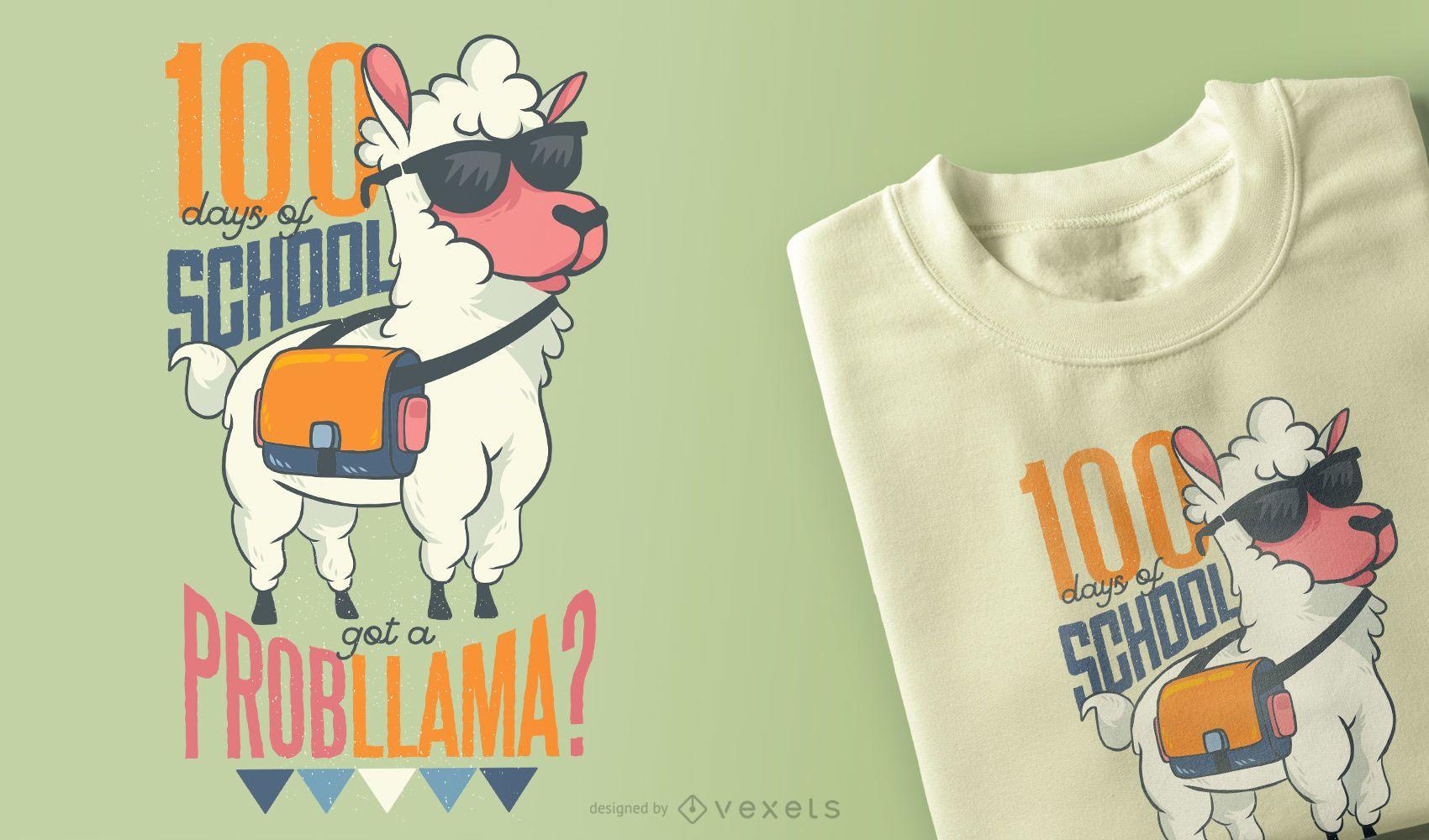 Diseño de camiseta School Llama
