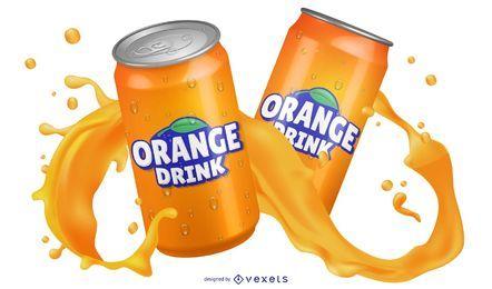 Bebida de naranja en una lata