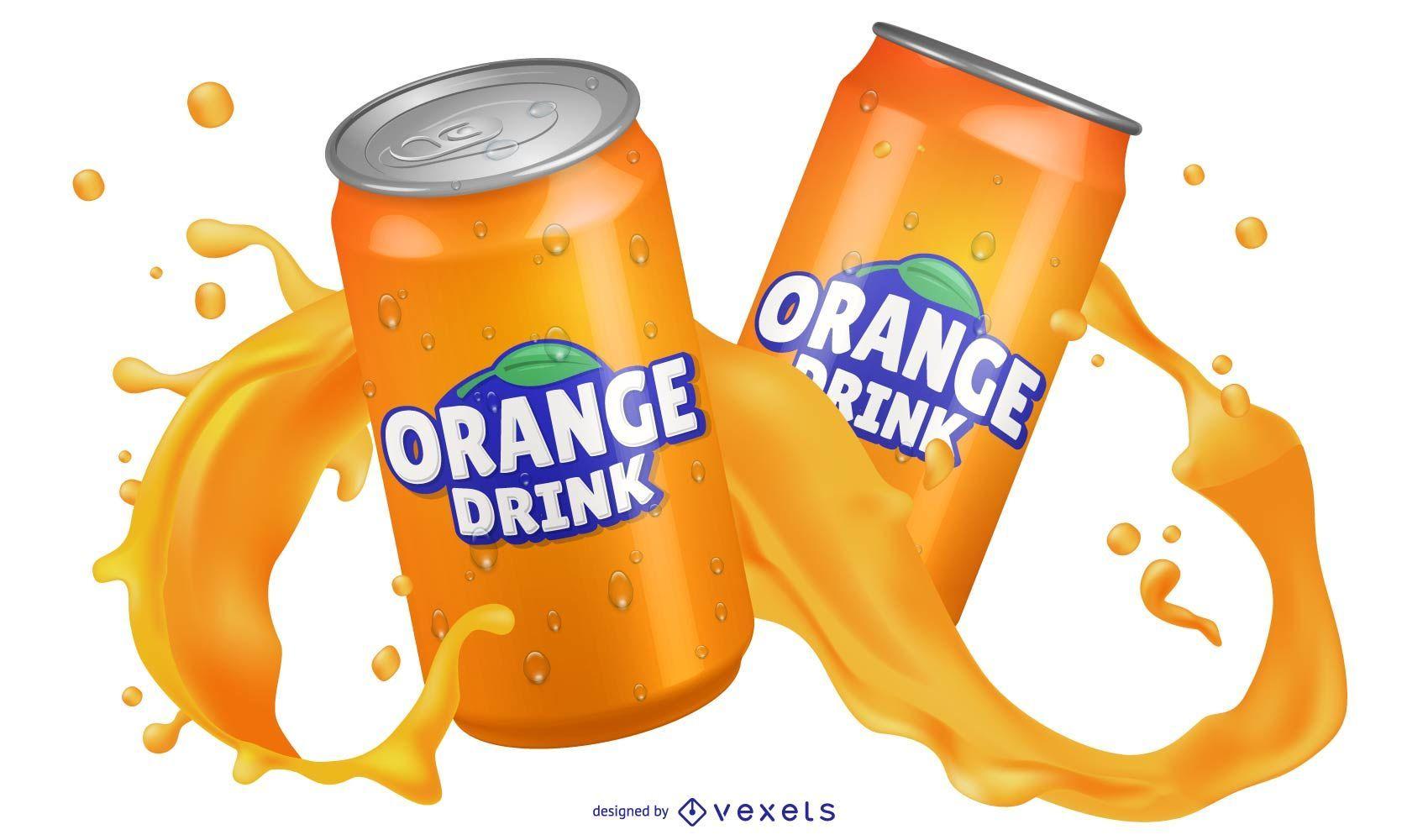Bebida de naranja en lata