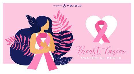 Ilustração de conscientização de câncer de mama