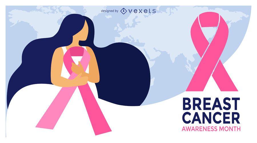 Breast Cancer Illustration Month Design