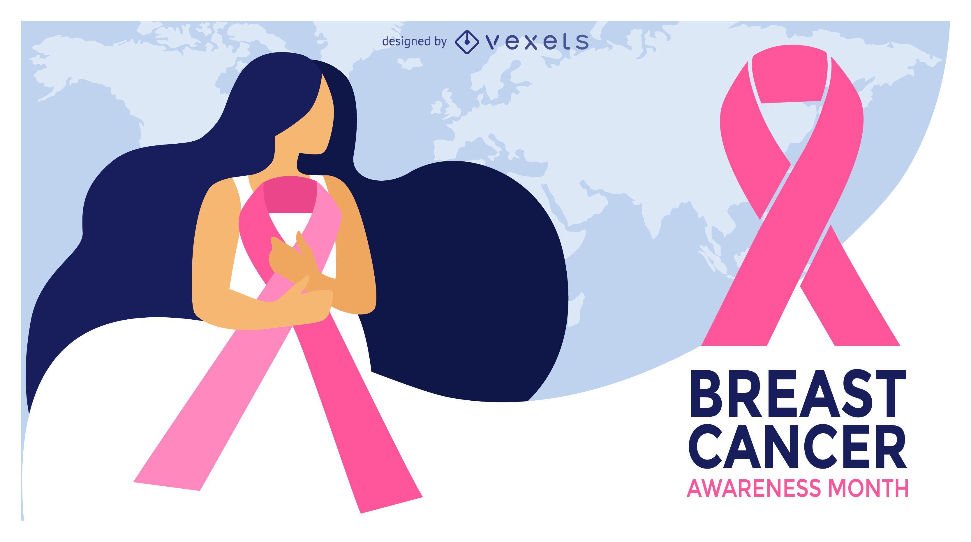 Diseño del mes de la ilustración del cáncer de mama