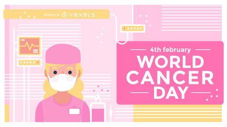 Diseño de ilustración del día mundial del cáncer