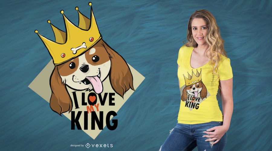 Diseño de camiseta King Dog