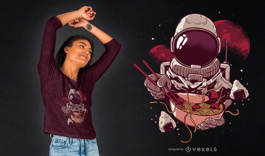 Design do t-shirt do astronauta dos Ramen