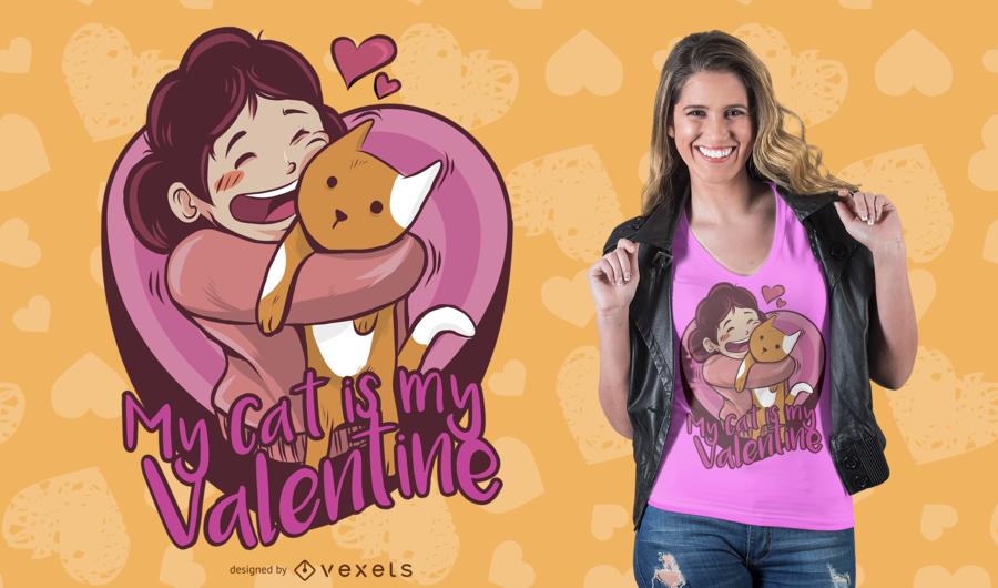 Design do t-shirt do amor do gato
