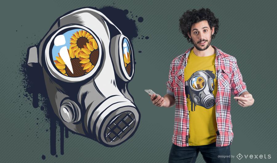 Design floral do t-shirt da máscara de gás