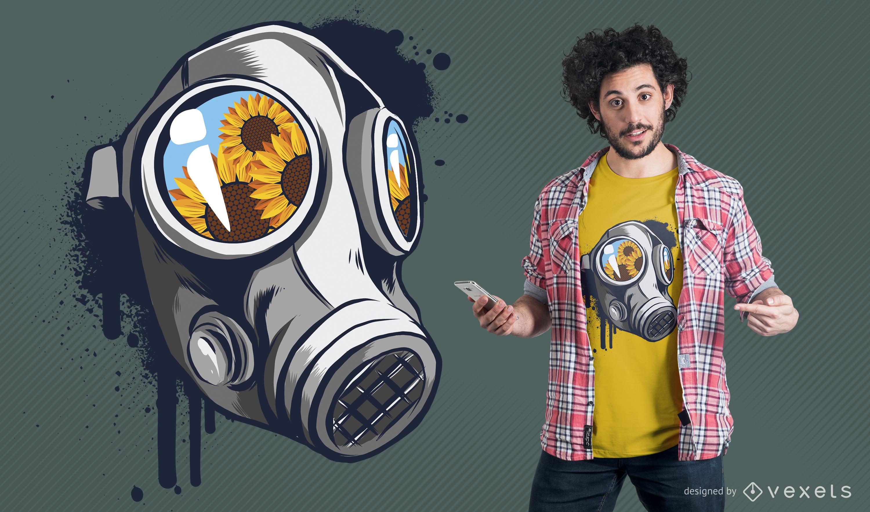 Diseño de camiseta de máscara de gas floral