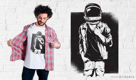 Projeto do t-shirt do astronauta da rocha