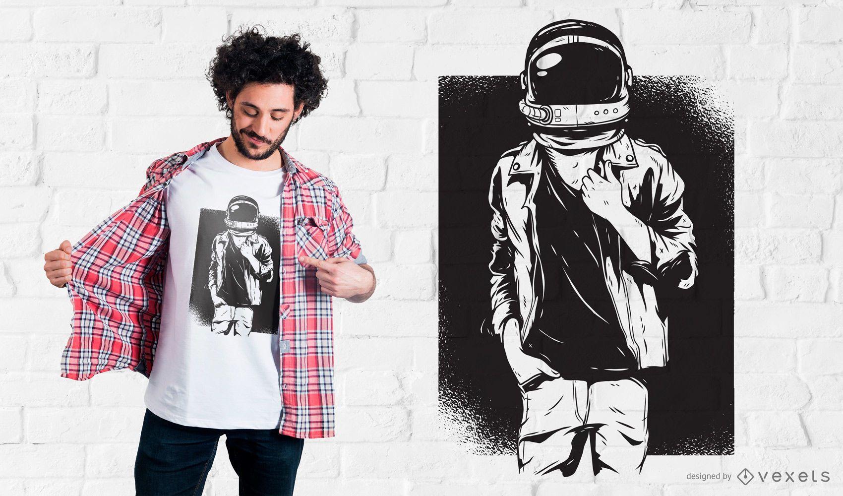 Diseño de camiseta Rock Astronaut
