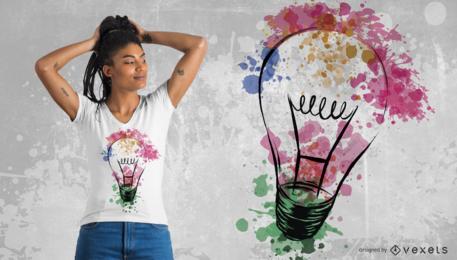 Diseño de camiseta de bombilla de acuarela