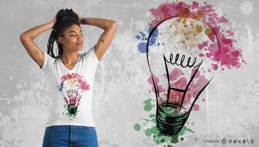 Design de t-shirt de lâmpada em aquarela