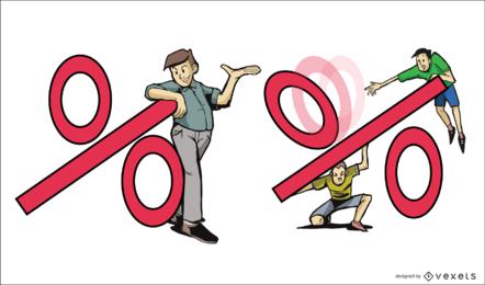 Ilustração porcentagem
