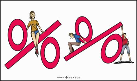 Ilustração do conjunto de porcentagem