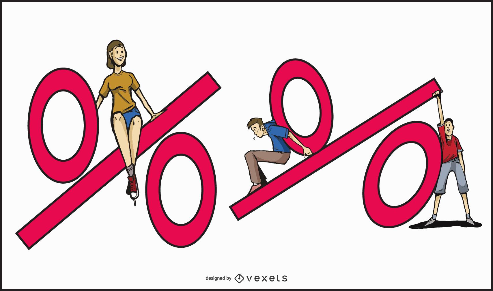 Ilustración de conjunto de porcentaje