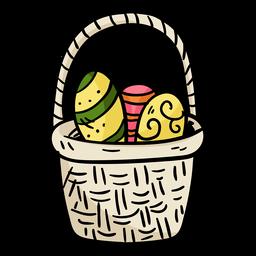 Ilustración de canasta de huevos de Pascua