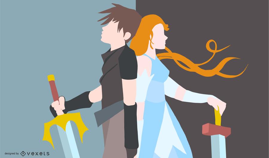 Anime guerreiro casal ilustração