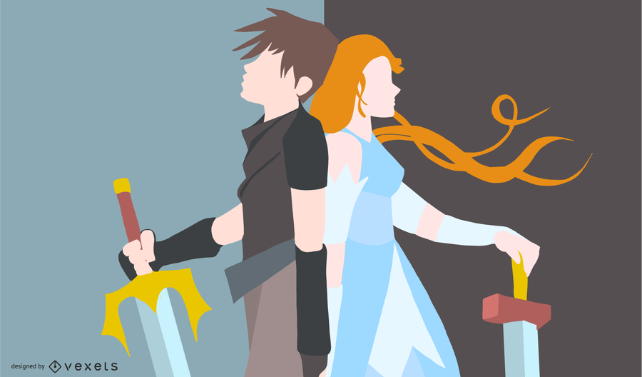 Anime guerrero pareja ilustración