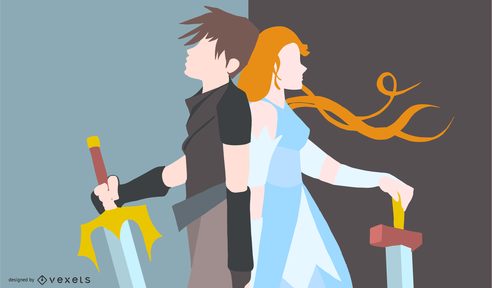 Anime Warrior Couple Illustration