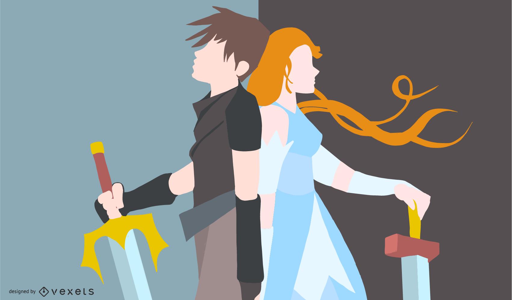 Ilustración de pareja de guerreros de anime