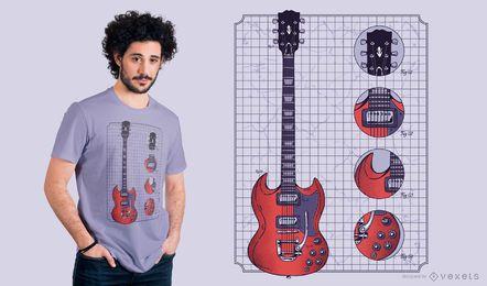 Diseño de camiseta de guitarra Gibson