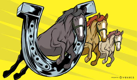 Horse and Horse Shoe Illustration