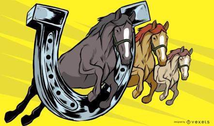 Ilustración de herradura de caballo y caballo