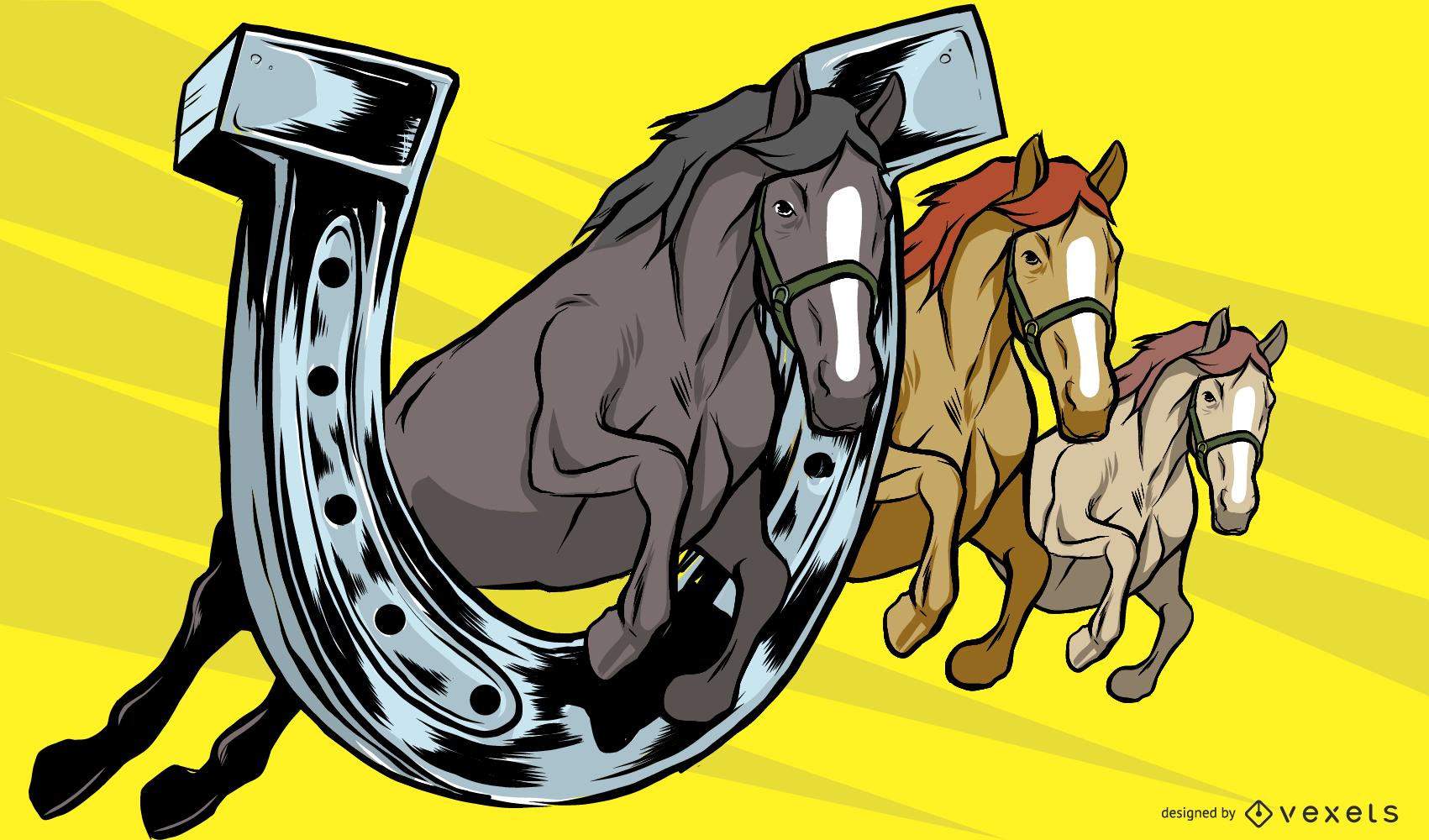 Horse and Horse Shoe Illustration