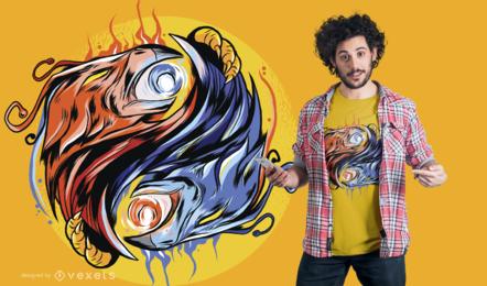 Diseño de camiseta Phoenix Yin Yang
